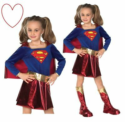 Supergirl Costume Kids Girls Deluxe Superhero Outfit Party Book Day Week