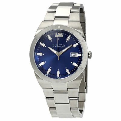 Bulova 96B220 Men's Dress Blue Dial Silver-Tone Stainless Steel Quartz Watch