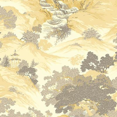 Crown Archives Oriental Landscape Wallpaper Yellow M1192 - Feature Wall New
