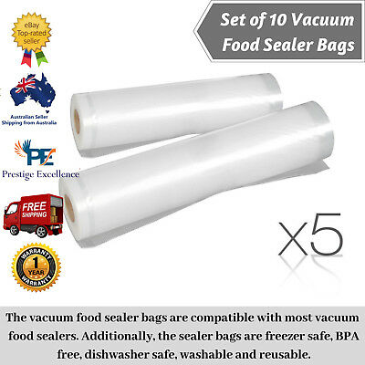 10 x Vacuum Food Sealer Fresh Saver Seal Bag Commercial Storage Roll 20cm & 28cm