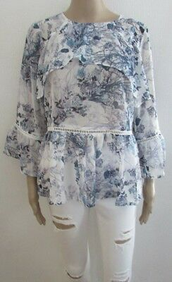 V by Very Blue Floral Frill Front Casual Blouse size 14 retail price 38.00