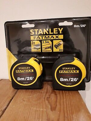 2 x Stanley Fatmax 8m (26ft) Pro Classic Metric & Imperial Tape Measure, 581558