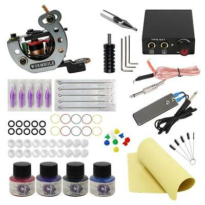 Complete Tattoo Kit Liner and Shader 5 needles 4 inks Power Supply Free Postage