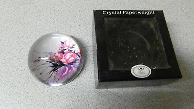 Leonardo Collection Crystal Glass Floral Paperweight - Boxed