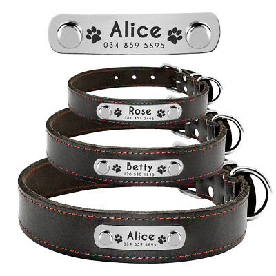 Brown Genuine Leather Personalized Dog Collar Engraved ID Name Number Custom SML