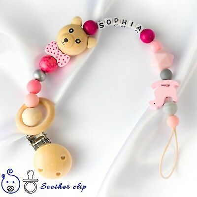 Personalised Baby Dummy Clip Soother Holder Wooden Shower Christening Gift