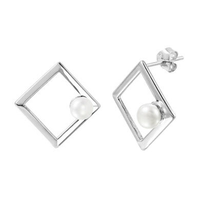 NWT Sterling Silver 925 Open Square Fresh Water Pearl Stud Earring STE01001