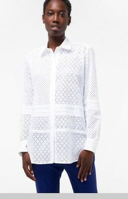 d51e9bc39b5b1 Paul Smith Womens White Broderie-Cotton Patchwork Lace Shirt 40  8-10Uk