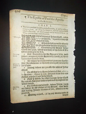1612-KJV- New Testament Leaf-1st Ed.-Small Quarto-Title Page-ROMANS-End of Acts!