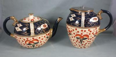 Vtg/ Antique GAUDY WELSH England Pottery IMARI STYLE TEAPOT & WATER PITCHER