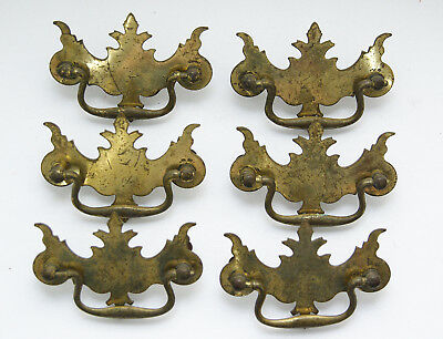 Vintage Chippendale Brass Drawer Pulls Drop Handle and Ball x 6 Batwing Federal