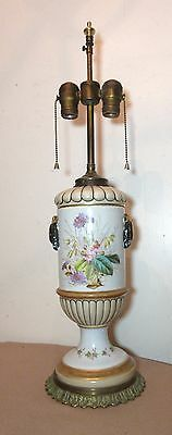 rare antique 1800's hand painted pottery brass porcelain electrified oil lamp