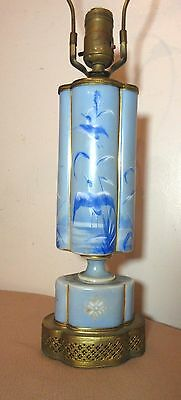 rare antique hand painted enamel brass porcelain Chinese electric table lamp