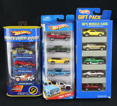 NOS Hot Wheels 1995 60's Muscle Car Gift Pack, 2010 Chevy 5,2005 Track 3 New OOP