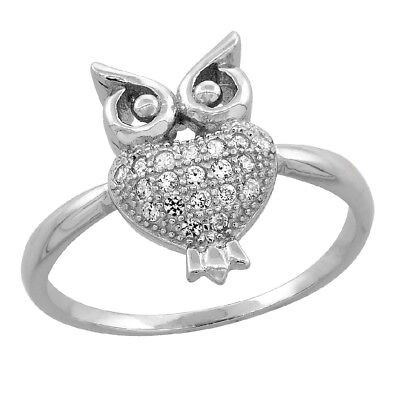 Sterling Silver Dainty Owl Ring w/ Micro Pave Cubic Zirconia Stones