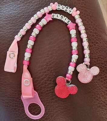 Personalised Baby Boy Girl Disney Minnie Mouse Unicorn Dummy Clip MAM adapter