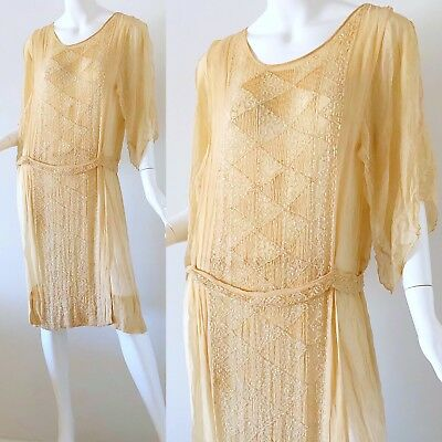 Vintage 1920s Beaded Silk Dress Antique 20s Ivory Wedding Flapper Couture Small