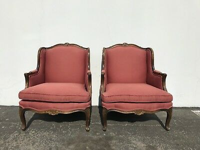 Vintage French LaFleur Wing Chairs Bergere Pair of Armchair Seating Set Lounge