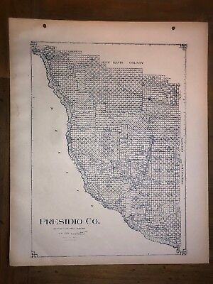 1911 Presidio County Texas Map Land Office Austin Blue Line Antique Vintage