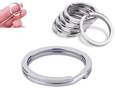 30 mm Flat Split rings Keychain Stainless Steel Blank Round  Loop Hoop Silver
