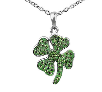 Crystal 4 Four Leaf Clover Irish Good Luck Green Silver Plated Necklace 18""