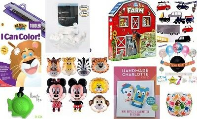 Lot of Childrens Items Books Diapers Balloons Party Supplies Crafts Safety Locks