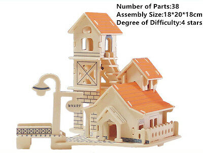New Assembly DIY Education Toys 3D Wooden Model Puzzles Of Riverbank House
