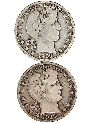 Raw 2 Pack Barber 50C 1909 & 1915-S Circulated 90% Silver Half Dollar Coins