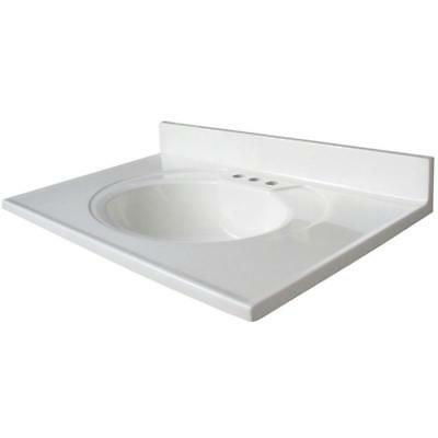 """Glacier Bay N31GB-W Newport 30.5"""" Cultured Marble Vanity Top With Basin, White"""