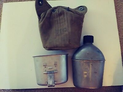 Vintage (1945) Sp&F Us Army Canteen With Cup & Canvas Cover
