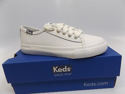 Keds Double Up Girls SZ 11.0 White Leather Classic Sneaker Shoes DISPLAY  D7005 db864a6fa