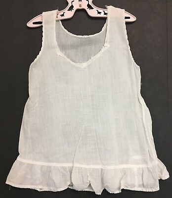 Vintage Large Doll Or Girls Toddler V Neck White Cotton Petticoat Dress Slip