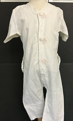 Vintage Victorian White Cotton Girl's One Piece Bodysuit Jumpsuit Pink Appliques