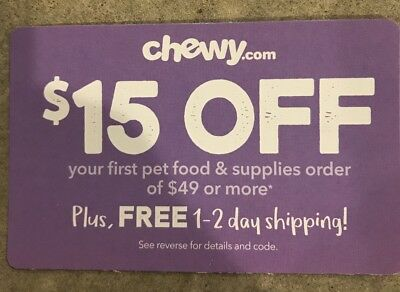 $15 off coupon chewy.com your first order of $49 or more Expires 3/31/19