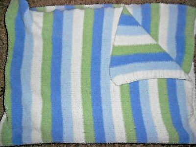 Carters Just One Year Baby Blanket Chenille Stripe Blue White Green Comfy Cozy