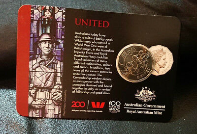 2018 50 Cent - Anzac Spirit - *United* - Carded & Uncirculated