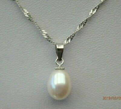 Natural Freshwater Pearl Solid 925 Sterling Silver Pendant Necklace Chain