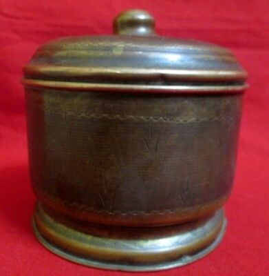 Vintage Collectible Hand Forged Powder Copper Box With Dug Lid Tikka Box