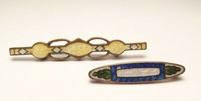 Antique Victorian Gold Plated/filled? Enamel Bar Pin Brooch Lot Of 2