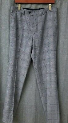 80e1630e ZARA MAN Gray Plaid Flat Front Trousers Dress Pants Mens Size 32 X 31.5