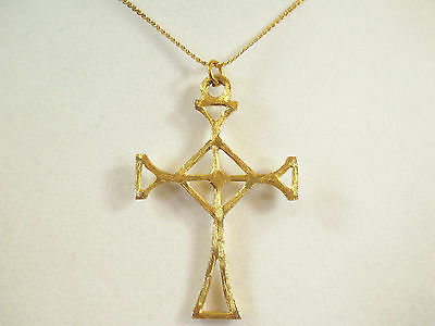 Brushed Gold Plate CELTIC CROSS Necklace Chain Pendant Religious Goth Vintage