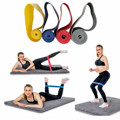 Set of 4 Heavy Duty Resistance Stretch Band Loop Exercise Yoga Workout Power Gym
