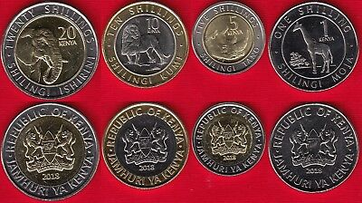 Kenya set of 4 coins: 1 - 20 shillings 2018 UNC