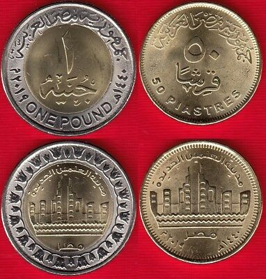 "Egypt set of 2 coins: 50 piastres - 1 pound 2019 ""New Alameen city"" UNC"