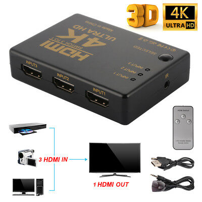 3 In 1 Out HDMI Switcher Splitter Selector 4Kx2K With IR Remote Control AC1555