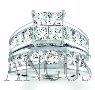 4.49 ct Princess cut Diamond Engagement Ring Wedding Band Solid 14k White Gold