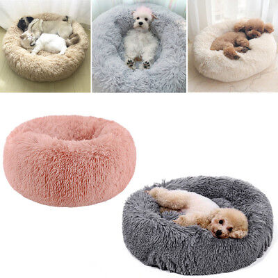 For Pet Dog Cat Puppy Kitten Shaggy Fluffy Sleeping Area Cushion Bed Grey/Pink
