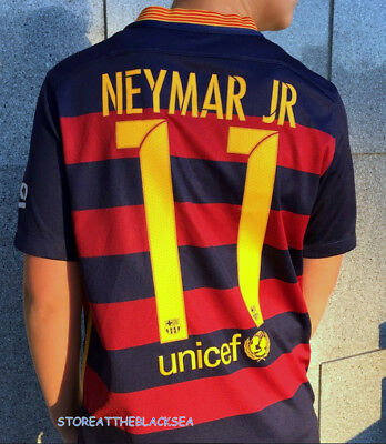 Barcelona 2015 2016  11 Neymar Jr. Football Soccer Shirt Jersey Camiseta  Boys c852db28fef86