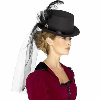 Deluxe Ladies Victorian Top Hat Steampunk Fancy Dress Costume Womens Accessory