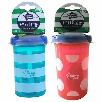 Tommee Tippee Essentials Free Flow Super Sipper Cup 300ml 9m+, Pack of 2